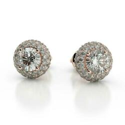 Best 2.00 Ct G Si1 Round Cut Diamond Halo Stud Earrings 14 K Red Rose Gold