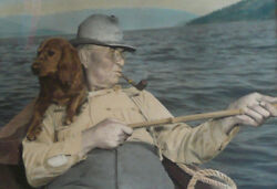 ROSS HALL IDAHO RARE SIGNED PHOTOGRAPH HAND COLORED TINTED DOG and FISHERMAN