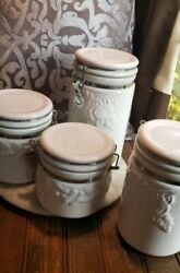 Set Of 4 Vintage Sac White Milk Glass Canister W/bale Wire Clamp Lid.