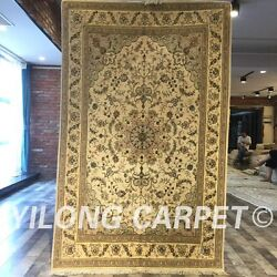 Clearance Yilong 4and039x6and039 Beige Handmade Wool Rug Blanket Woolen Carpet Sale 2072