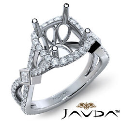 Round Halo U Prong Bezel Cross Shank Diamond Engagement Ring Semi Mount 0.95ct