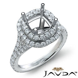 French Cut Pave Double Halo Diamond Engagement Ring Cushion Semi Mount 1.4ct