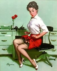 Gil Elvgren Pinup Getting Spotted Original Painting Upskirt Pin-up Stockings