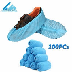 100 Non-woven Disposable Shoe Covers Printed Boot Cover Overshoes Anti-Slip Blue