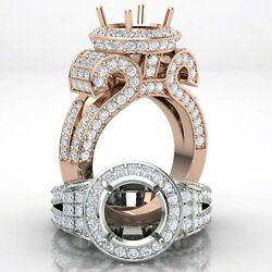 Round Diamond Engagement Ring Antique And Vintage Halo Pave Semi Mount 2.7ct.