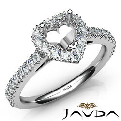 French V Cut Pave High-setting Diamond Engagement Heart Semi Mount Ring 1ct.