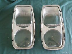 Pair 1965 Ford Galaxie 427 R Code Glass Headlight Covers OEM FoMoCo 65