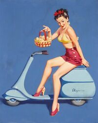 Gil Elvgren Vespa Original Painting Pin-up Leg Pinup On A 40s Scooter