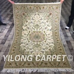 Clearance Yilong 4and039x6 Handmade Wool Silk Area Rug Hand-knotted Hair Carpet 2128