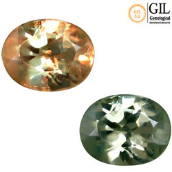 0.39 Ct Free GIL Cer Phenomenal Oval 5 x 391 mm Natural Green To Red Alexandrite