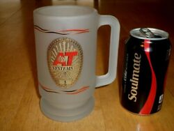 [at] Systems [ Security Guard Badge Logo ] Jumbo Size Frosted Glass Beer Mug