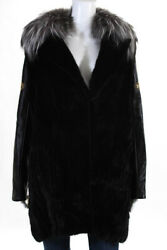 Versace Womens Coat Size IT 38 Black Mink Fur Studded Leather Sleeve New $29525