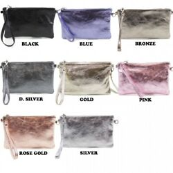 LeahWard Women's Real Leather Metallic Clutch Bags Party Wedding Racing Evening