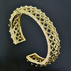 Tiffany & Co. Italy 18K Yellow Gold Ball Woven Wide Cuff Bangle Bracelet