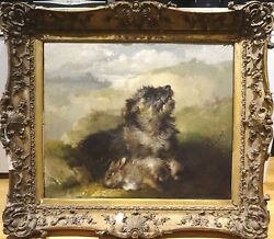 Large 19th Century Terrier Dog Portrait & Dead Rabbit James BATEMAN (1814-1849)