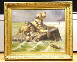 Huge 19th Century French Wolfhound & Puppies Flood Dog Painting by E M SAMSON