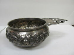 Black Starr And Frost Floral Repousse Sterling Porringer Hdld Bowl 6 Andfrac14andrdquo Xlnt Cond
