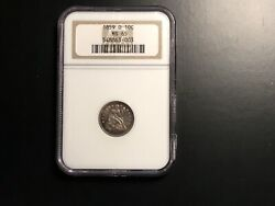 1859-0 Seated Dime Ms 65 Ngc Old Holder Beautiful Toning