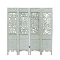 Chinese Distressed Off-white Lacquer Flower Birds Wood Panel Floor Screen Cs5091