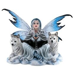 Large Fairy With Pair Of White Wolves Figurine Statue 18 Wingspan 11.75 High