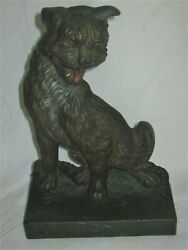 ANTIQUE BRADLEY HUBBARD CAST IRON CAIRN TERRIER TOTO STATUE DOG ART B