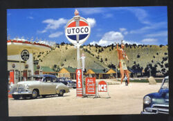 Utoco Service Gas Station 1950's Cars Advertising Postcard Copy