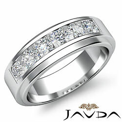 Channel Sets Diamond Mens Wedding Solid Band 8.5mm Ring 14k White Gold 0.90 Ctw