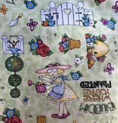 Mary Engelbreit Bloom Where Your Planted fabric 100% Cotton Brand New half yard