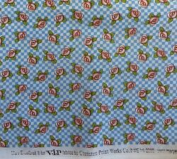 Mary Engelbreit Bloom Where Your Planted fabric flower on blue gingham Half Yard