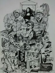 Terry Quirk Original Pen Drawing Black And White Mafia Mona Lisa Detail Collage
