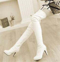 Fashion Womens High Heel Stilettos Sexy Over The Knee Thigh High Boots Plus Shoe