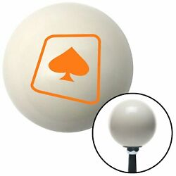 Orange Spade On A Card Ivory Shift Knob With 16mm X 1.5 Insert Camper Auto