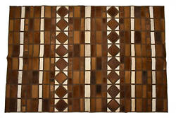 Aydin Mosaic Square Cowhide Patchwork Area Rug Hair-on Genuine Leather 5and0393x8and0390