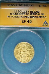 1150-1187 Anacs Ef45 Bezant Crusaders Of Jerusalem B7466