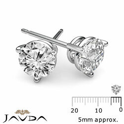 3 Prong Double Wire 100 Natural Round Diamond 1 Pair Stud Earrings 0.60 Ctw.