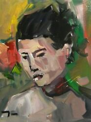 Jose Trujillo - Expressionist 12x16 Portrait Woman Coa - Highly Collected Artist