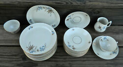 37-pcs Of Porsgrund Norway Blue Flowers And Gold Leaves Pattern China