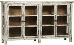 SIDEBOARD DOVETAIL SHANNON DISTRESSED LIGHT GRAY PAINT POLISHED NICKEL RE