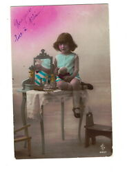 Mc2662 Curly Hair Girl Sitting On A Toilet-table Powder Puff Make -up Rppc