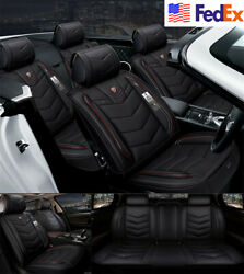 Black Luxury PU Leather Car Seat Covers Full Seat Covers 6D Full Surrounded 3PCS