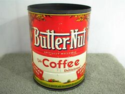 Vintage Butter Nut Coffee Can 2 Lbs Pounds Regular Grind Butter-nut Tin No Lid