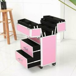 New Rolling Makeup Case Cosmetic Train Box Trolley Storage Lockable Space saving
