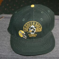 Vintage Green Bay Packers Twill Fitted Baseball Cap W Pin Size 7 1/2