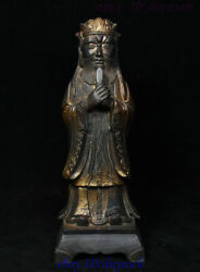 10 Collect Chinese Dynasty Bronze Gilt People Official Civilian Literati Statue