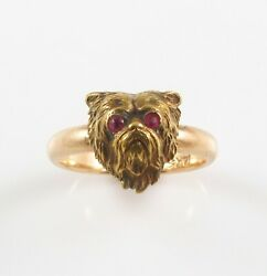 Antique 14k Gold Art Nouveau Yorkshire Terrier Ruby Eyed Conversion Ring Size 8