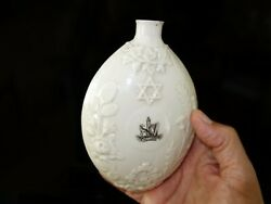 Rare Belleek 19th c. porcelain Judaica Jewish Irish circumcision buttle  flask