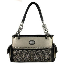 Montana West Ladies Concealed Gun Carrying Chain Purse Floral Design Bronze $36.99