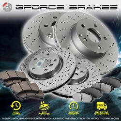 Front+rear Cross Drilled Rotors And Ceramic Pads For 2006 Kia Optima With 4 Lugs