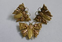 Vintage 1940's 1950's Alaskan Gold Nugget on 10K Moth Butterfly Earrings
