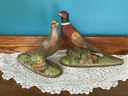 2 Large Holland Mold Ceramic Pheasants Beautifully Hand Painted Vintage 70s Deco
